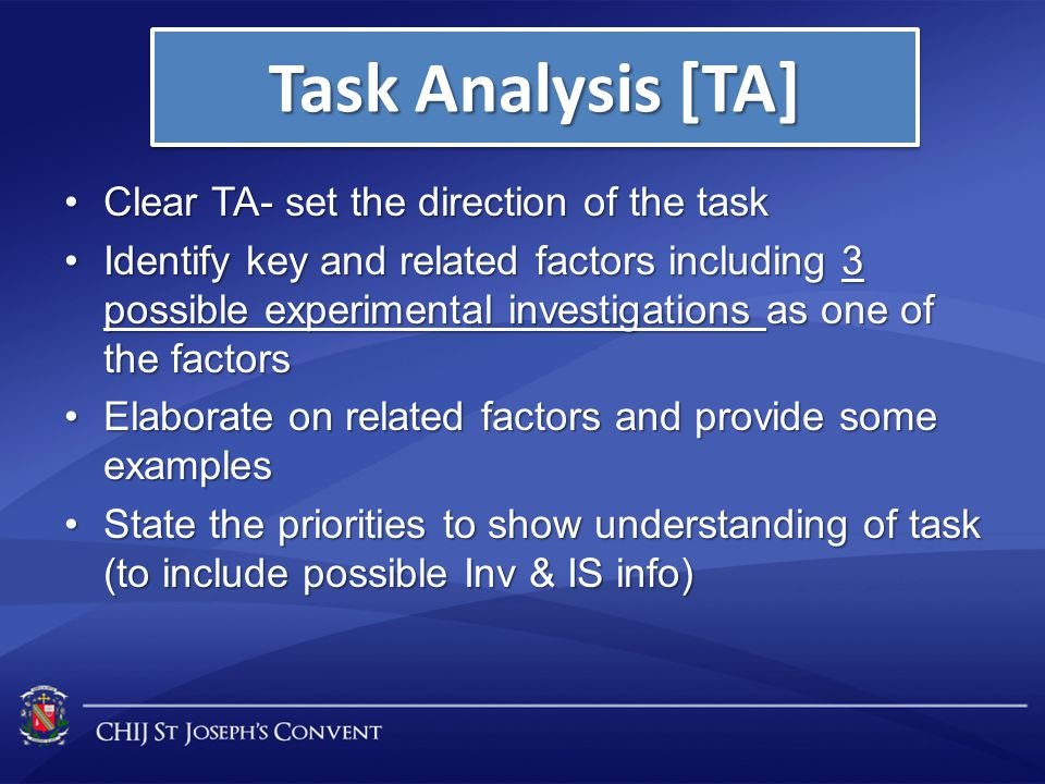 Task Analysis [TA] Clear TA- set the direction of the task